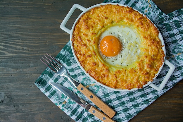 Potato casserole with bolognese.