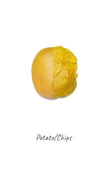 감자 칩과 감자 흰색 배경, 평면도에 고립
