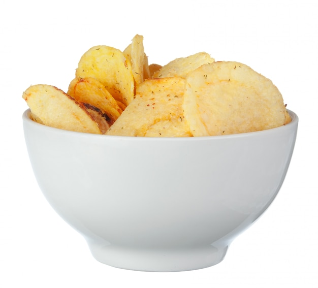 Potato chips on bowl isolated on white