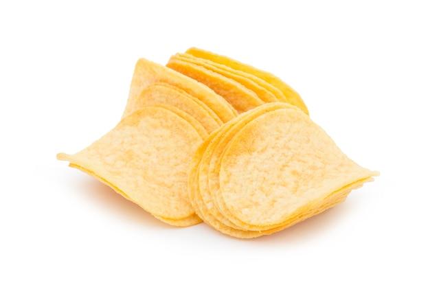 흰색 배경에 고립 된 감자 칩