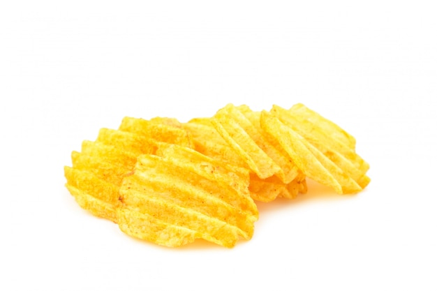 Potato chips isolated on white background, cut out