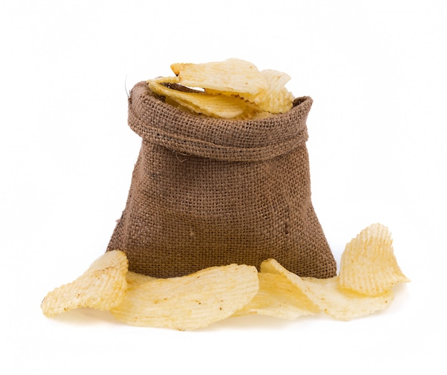 Potato chips in jute isolated