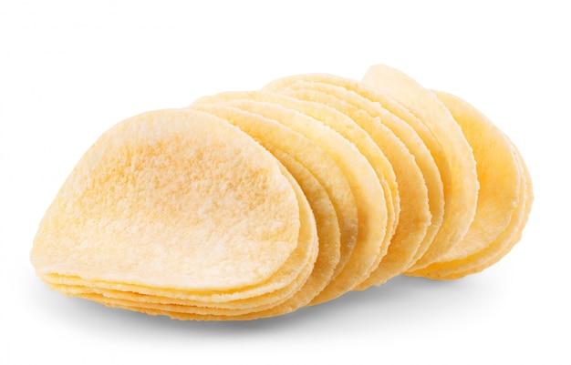 흰색 배경 클리핑 경로에 감자 칩