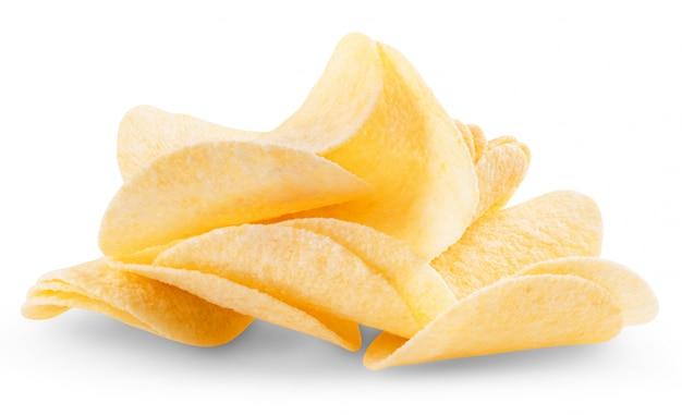 흰색 바탕에 감자 칩