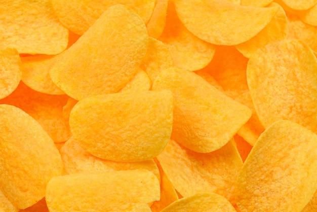 감자 칩 스낵 질감 배경입니다. 평면도.