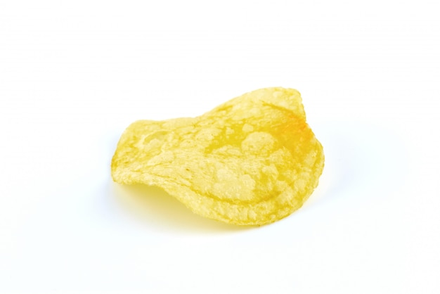 Potato chips on white