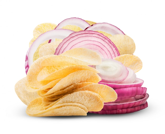 Potato chips with onion isolated on white