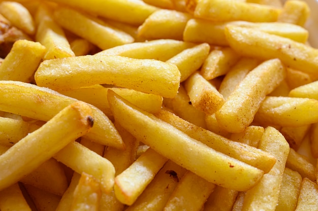 Potato french fries close up.