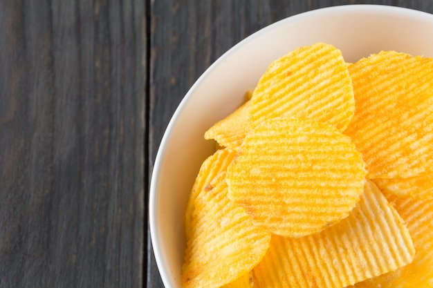 Potato fried rippled salty closeup