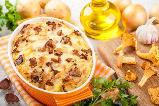 アンズタケとチーズのポテトグラタン