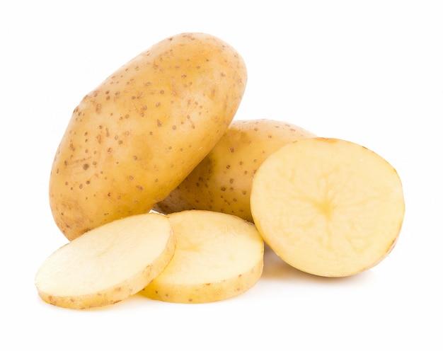 흰 배경에 고립 된 감자