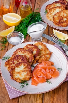 Potato pancakes with sour cream and salmon on a plate on a wooden background
