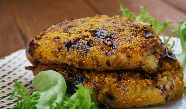 Potato red cabbage tikki -  indian potato cabbage cutlet