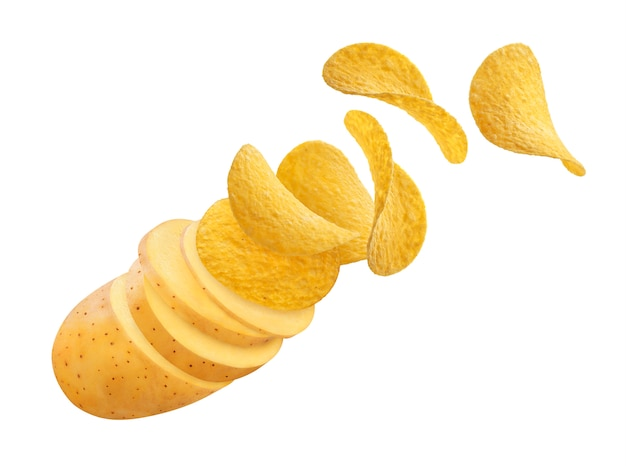 Potato slices turning into flying potato chips isolated on white and black backgrounds