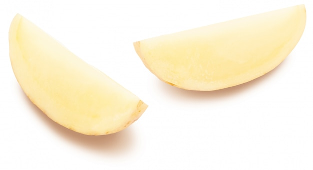 Potato slices on white background