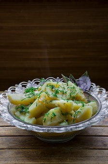 Potato stewed with vegetables and herbs. tasty and nutritious lunch