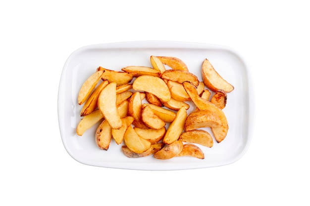 Potato wedges on white plate isolated on white background. top view