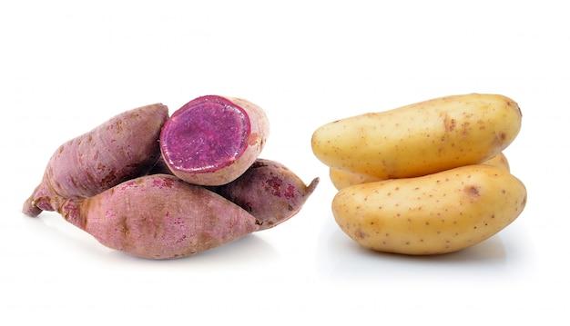 Potato and yam isolated on white