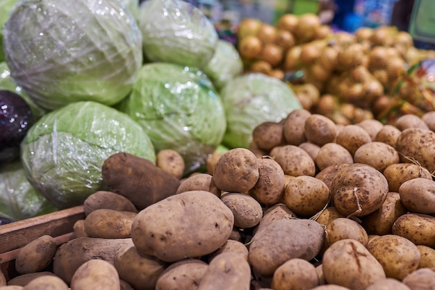 Potatoes and cabbage at the store