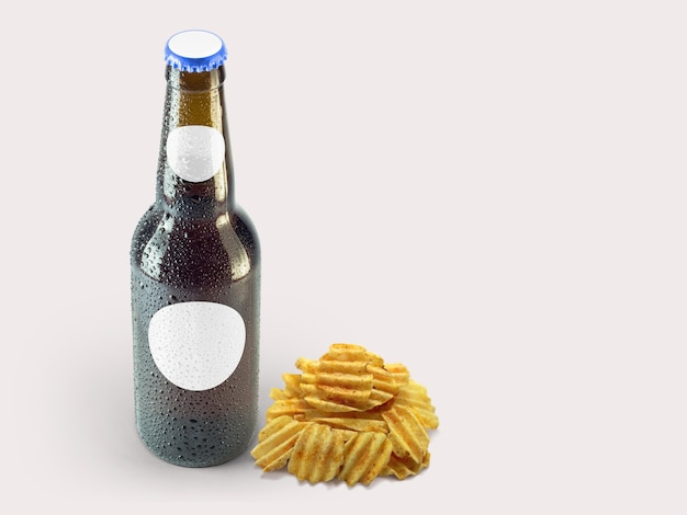 Картофельные закуски и коричневая бутылка, изолированные на цветном фоне. октоберфест концепция.