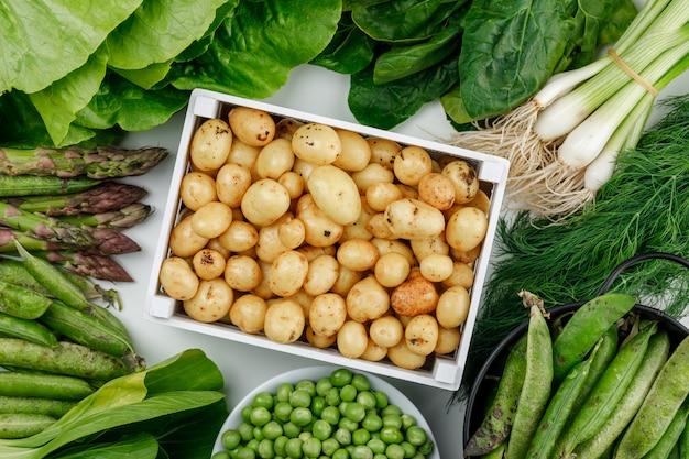 Patate con baccelli verdi, piselli, aneto, cipolle verdi, spinaci, acetosa, lattuga, asparagi in una scatola di legno sul muro bianco, vista dall'alto.