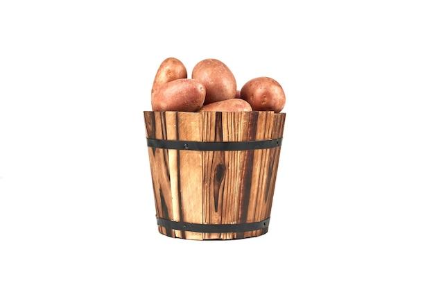Potatoes in a wooden bucket.
