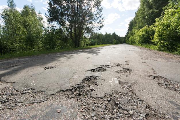 Potholes on road