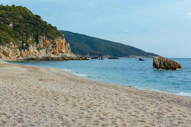 Potistika 해변 아침보기 그리스. 에게 해.