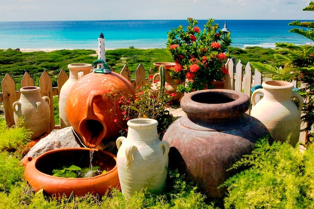 Pots and view of sea in aruba