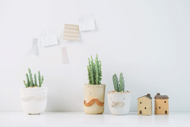 Potted cactus house plants with sticky note on white wall.