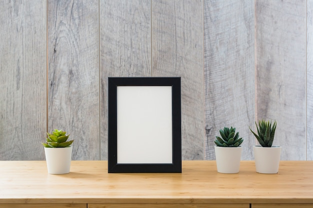 Potted cactus plant and white picture frame with black border on table