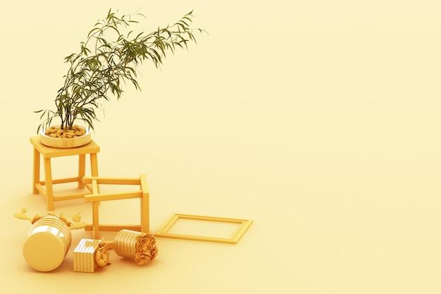 화분, 선인장, 파스텔 노란색 배경에 프레임. 3d 렌더링