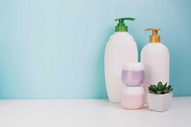 Pianta in vaso vicino a bottiglie e barattoli cosmetici
