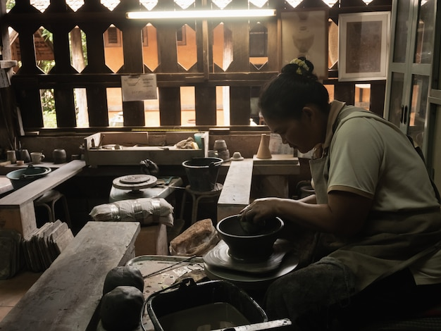 Potters working in the earthenware industrial, chiang rai thailand