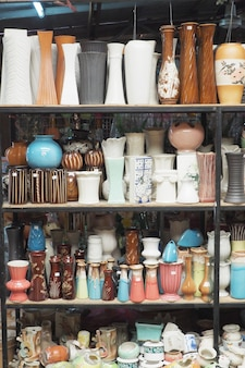 Pottery products in shop.