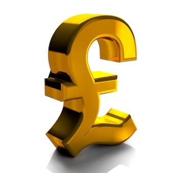 ポンド通貨記号記号ゴールドカラー3 dレンダリングに孤立した白い背景