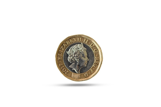 Pound sterling coin on drop shadow