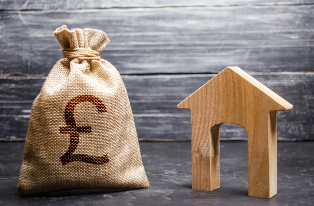 Pound sterling gbp symbol money bag and house. real estate purchase and investment