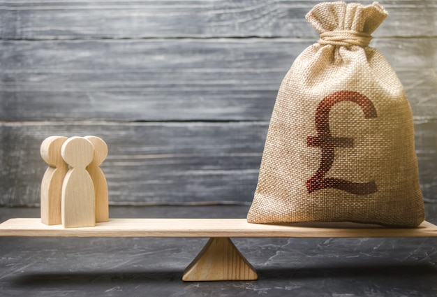 Символ фунта стерлингов gbp на мешок денег и людей на весах. концепция привлечения инвестиций
