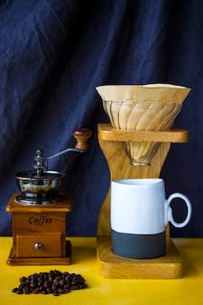 Pour over coffee maker, coffee cup and mug, studio shoot