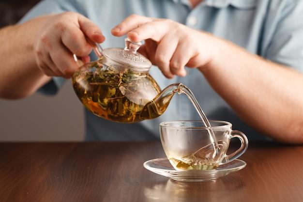 Налейте чай в чашки