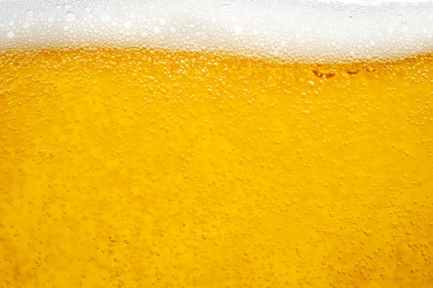 背景とデザインのためにガラスに泡の泡でビールを注ぐ。