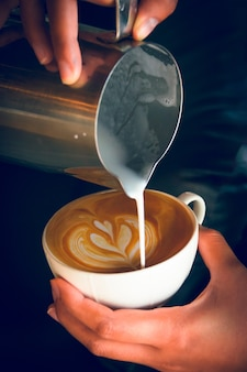 Pouring latte