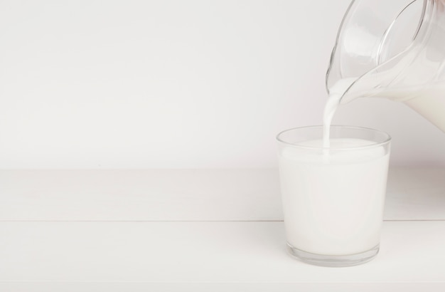 Pouring milk in a glass with copy space
