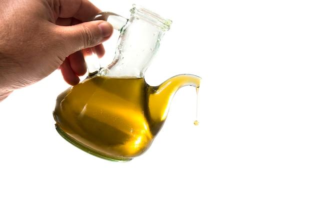 Pouring olive oil liquid