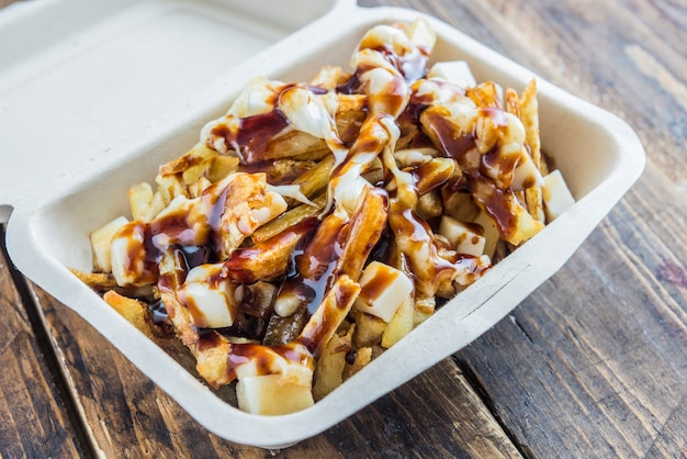 Poutine typical street food  in canada