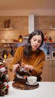 Pov of festive woman using video call communication