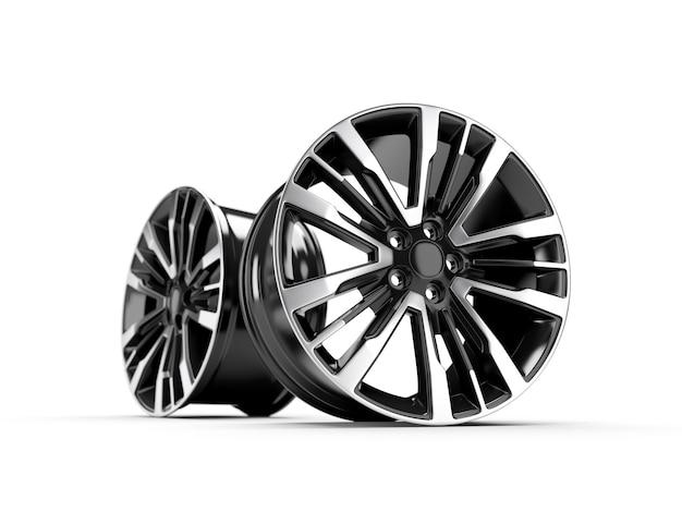 Powder coating of black wheel disk on white wall. 3d rendering illustration.