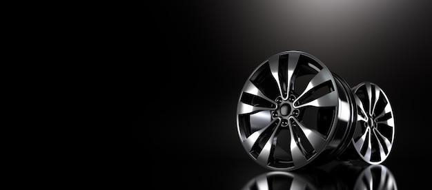 Порошковое покрытие диска черного колеса на черном фоне. 3d рендеринг иллюстрации.