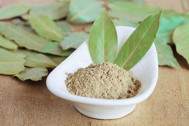 Powder of dried bay leaf of the bay tree, used in cooking.